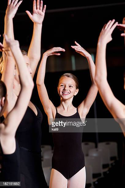 Ballerina rehearsing with group of dancers