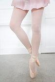Ballerina standing on tiptoe