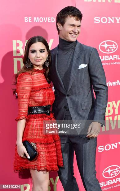 Ballerina Violetta Komyshan and Ansel Elgort arrive at the Premiere of Sony Pictures' 'Baby Driver' at Ace Hotel on June 14 2017 in Los Angeles...