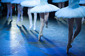 Ballet statement. Ballerinas in the movement. Feet of ballerinas close up.