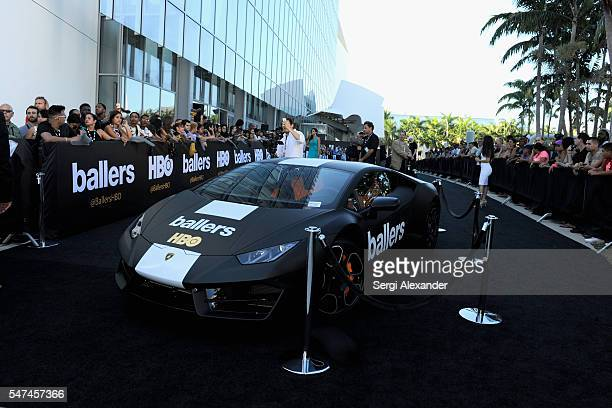 Ballers personalized Lamborghini on display at the HBO Ballers Season 2 Red Carpet Premiere and Reception on July 14 2016 at New World Symphony in...