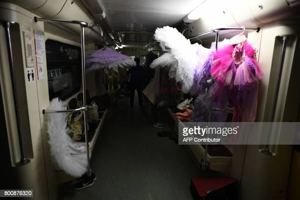 Ballet costumes are seen inside a carriage before a special night performance by 'The Kremlin ballet' troupe in the Novoslobodskaya metro station in...