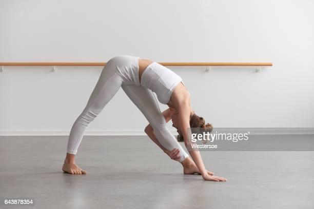Ballet dancer doing her exercises