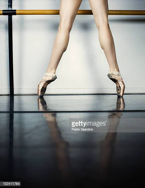 Ballet dancer in classic pointe position