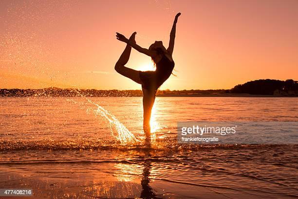Ballet dancer in the sunset