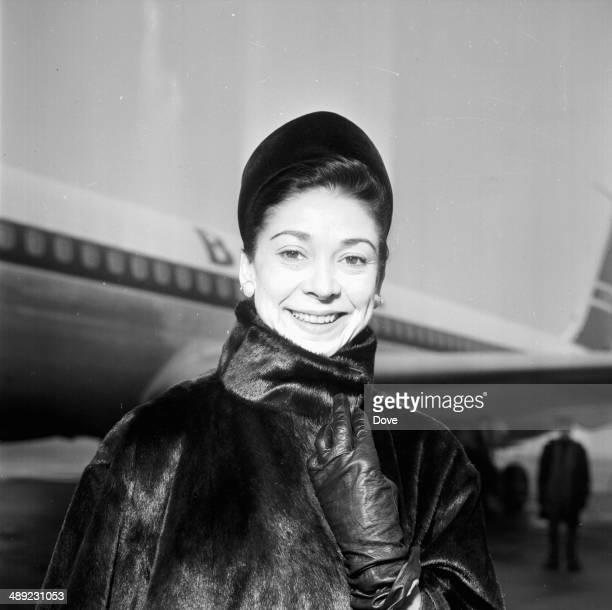 Ballet dancer Margot Fonteyn arriving at London Airport February 8th 1964