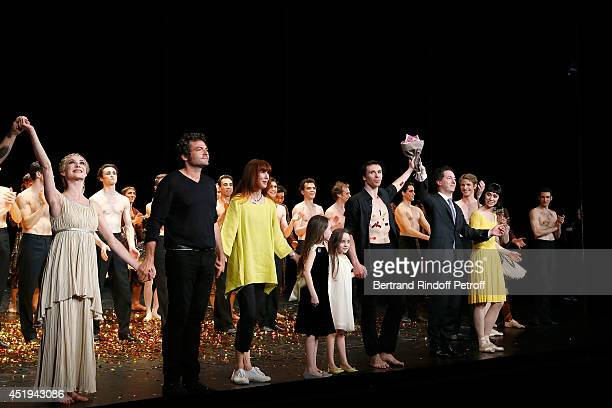 Ballet dancer Nicolas Le Riche salutes the public on stage with Mathieu Shedid Sylvie Guillem his two daughters Guillaume Gallienne and Paris Opera...