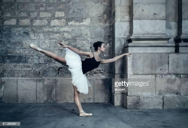 Ballet dancer performance in city streets