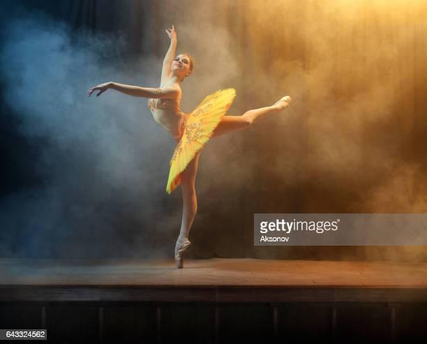 Balletdanser op het podium in theate uitvoeren