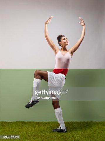 Ballet dancer top, footballer bottom