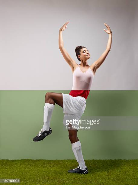 Ballet dancer top, footballer bottom