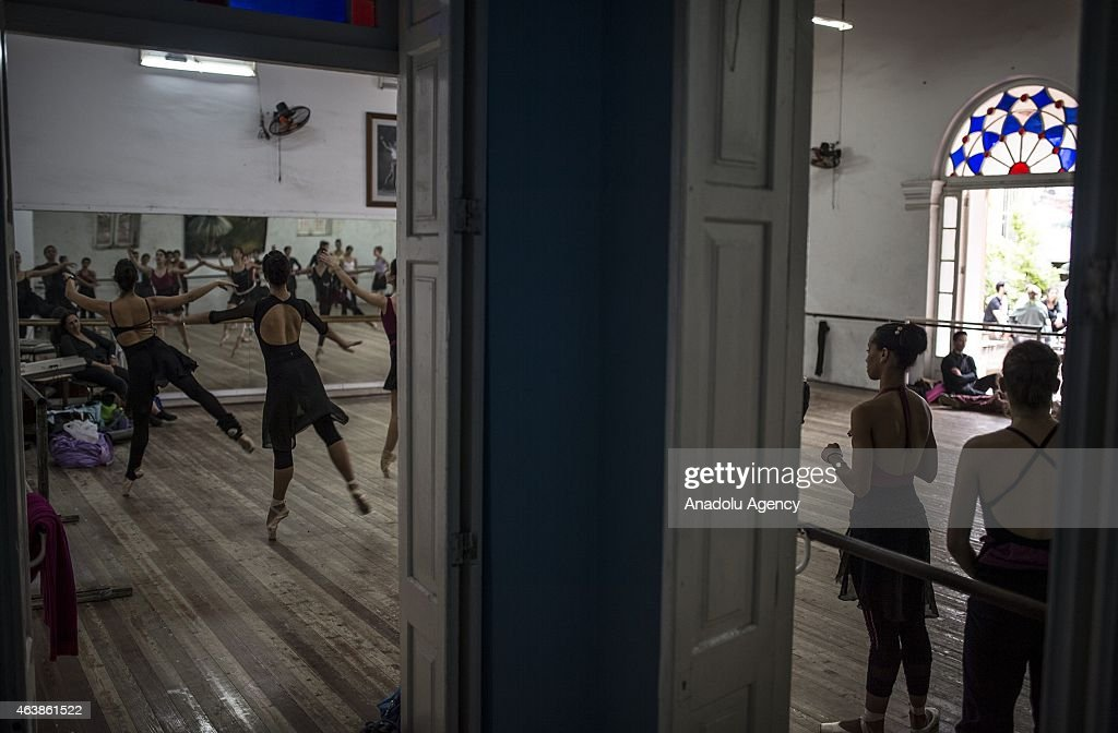 Ballet dancers are seen on a training session at The Cuban National Ballet (Nacional Cubana de Ballet) in Havana, Cuba on February 11, 2015. The Cuban National Ballet, found by <a gi-track='captionPersonalityLinkClicked' href=/galleries/search?phrase=Alicia+Alonso&family=editorial&specificpeople=217756 ng-click='$event.stopPropagation()'>Alicia Alonso</a> in 1948, host ballet dancers at a building which has a colonial architecture in Vedado district of the city. Ballet, as an art, had became an important field of art with the Fidel Castro's revolution as well as it gained reputation around the world.