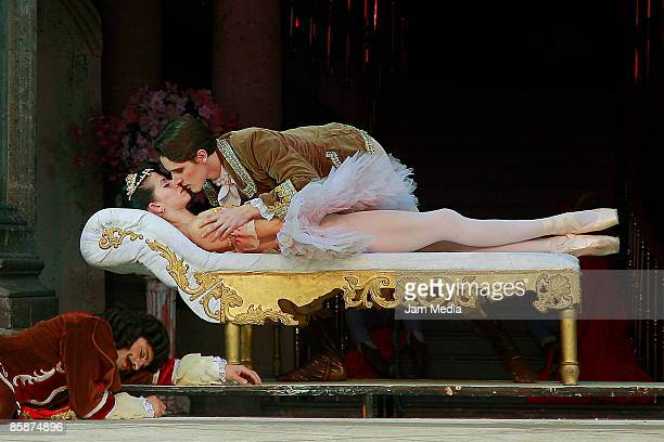 Ballet dancers Aurora Vazquez and Hector Jimenez during musical The Sleeping Beauty at Chapultepec's Castle on April 08 2009 in Mexico City Mexico...