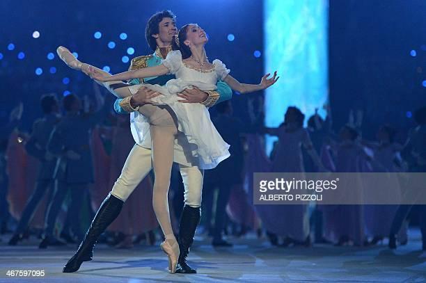 Ballet dancers Danila Korsuntsev and Svetlana Zakharova perform during the Opening Ceremony of the Sochi Winter Olympics at the Fisht Olympic Stadium...