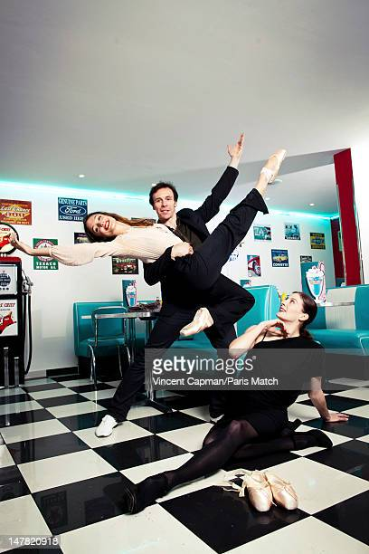 Ballet dancers for the Paris Opera Dorothee Gilbert Nicolas Le Riche and Marie Agnes Gillot are photographed for Paris Match on May 11 2012 in Paris...