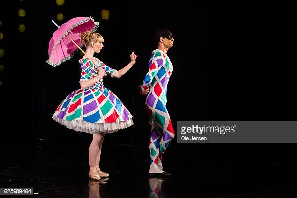 Ballet dancers in costume designed by Danish Queen Margrethe rehearse on the new set up of Tchaikovsky's The Nutcracker for which the Queen has taken...
