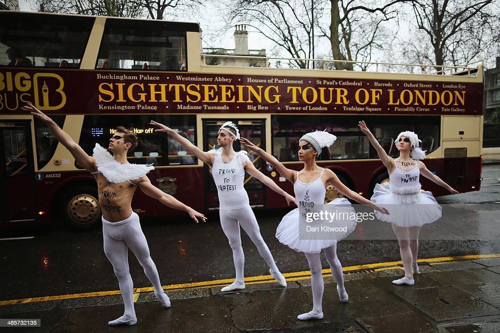 Ballet dancers join Amnesty International activists during a photocall outside the Russian Embassy in London on January 29, 2014 in London, England. The dancers performed parts of Swan Lake before handing in a petition asking that Russia's President Putin 'end his assault on freedom of expression and gay rights in Russia'. The photocall comes ahead of the Sochi Winter Olympics which begin on February 7, 2014.