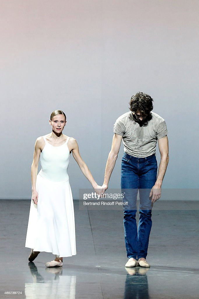 Ballet dancers Laetitia Pujol and Mathieu Ganio perform onstage at Le Chant De La Terre for AROP Charity Gala At Opera Garnier In Paris on March 4, 2015 in Paris, France.