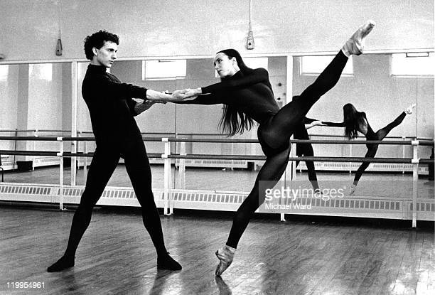 Ballet dancers Laurent Hilaire and Sylvie Guillem rehearsing at the Royal Ballet School Britain