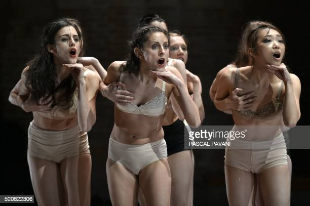 Ballet dancers of the Capitole de Toulouse dance on April 13 2016 at the Auditorium SaintPierre des Cuisines in Toulouse a new creation 'A Thousand...