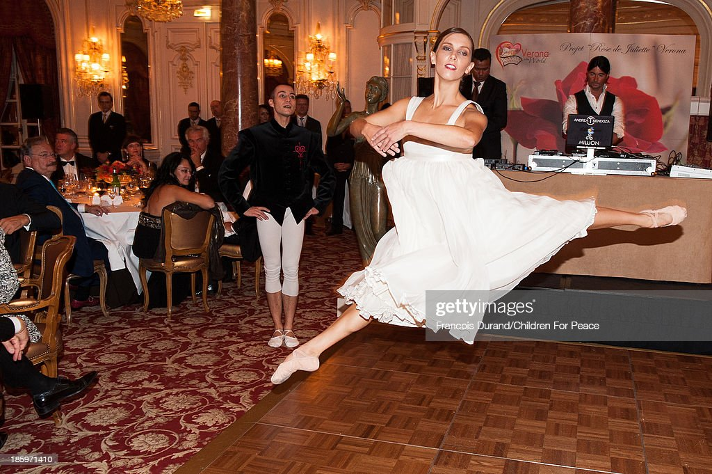 Ballet Dancers Orphelie Longuet and Haethcliff Bonnet perform during the 'Opera Romeo and Juliette' : Gala to the benefit of the The Children for Peace association, on October 26, 2013 in Monte-Carlo, Monaco.
