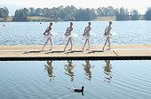 Ballet dancers perform during a media call for the Australian Ballet at Sydney International Regatta Centre on May 6 2016 in Sydney Australia