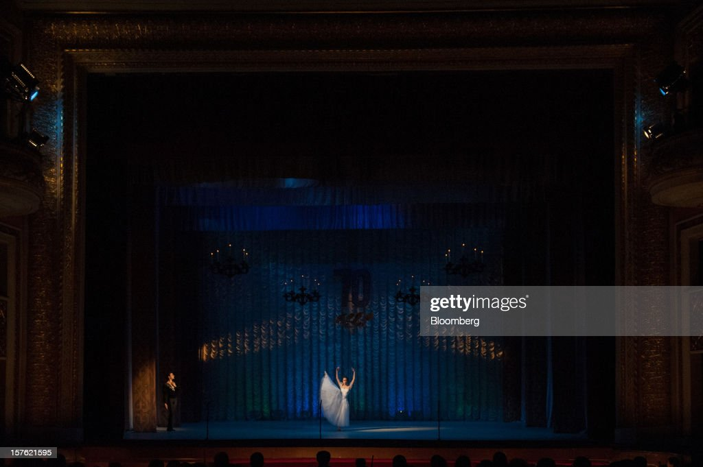 Ballet dancers perform on the stage of the Maldybaev Kyrgyz National Opera and Ballet Theater in Bishkek, Kyrgyzstan, on Sunday, Nov. 18, 2012. Landlocked Kyrgyzstan is the only country in the world that hosts both Russian and U.S. military bases. Photographer: Noriko Hayashi/Bloomberg via Getty Images