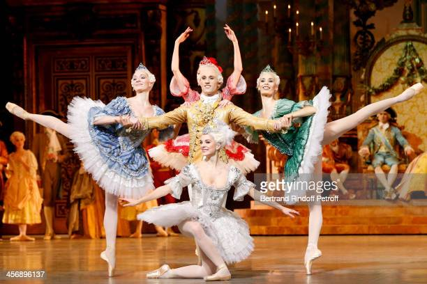 Ballet dancers perform Rudolf Nureyev's 'Sleeping Beauty' within the 'Reves d'Enfants' Arop charity event at Opera Bastille on December 15 2013 in...