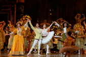 Ballet dancers perform Rudolf Nureyev's 'Sleeping Beauty' within the 'Reves d'Enfants' Arop charity event at Opera Bastille on December 15 2013 in...