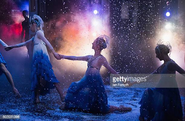 Ballet dancers performing as the snow maidens dance in The Nutcracker by Northern Ballet at the Grand Theatre on December 18 2015 in Leeds England...