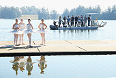 Ballet dancers share a quiet moment during a media call for the Australian Ballet at Sydney International Regatta Centre on May 6 2016 in Sydney...