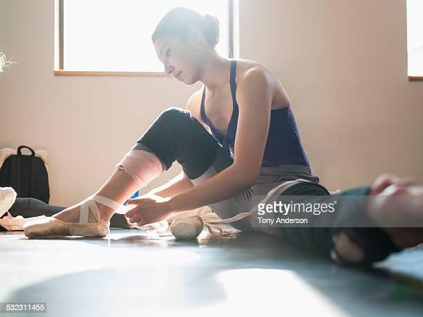Ballet student preparing for class