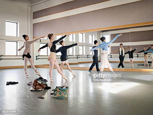 Ballet students rehearsing in studio