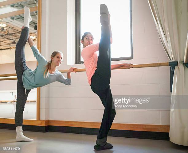 Ballet students warming up before class