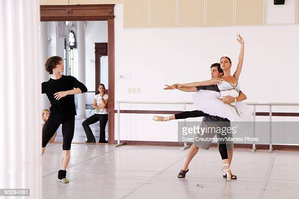 Ballet teacher Sergei Polunin teaches Alexander Agadzhanov of the Royal Ballet and invited Cuban dancer Arrencibia during rehearsal on July 15 in...