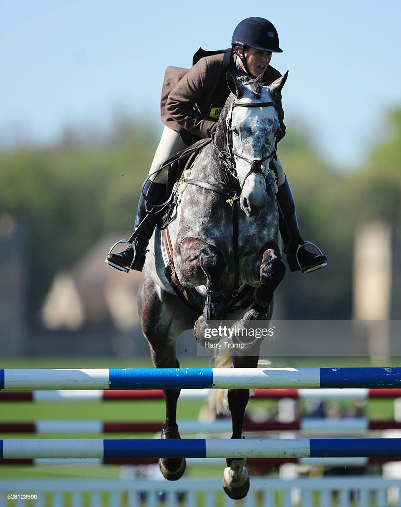 Ballinglen Eddie ridden by Lucy Spence takes a jump during the Mitsubishi Motors Cup Showing Jumping during Day One of the Badminton Horse Trials on May 4, 2016 in Badminton, United Kindom.