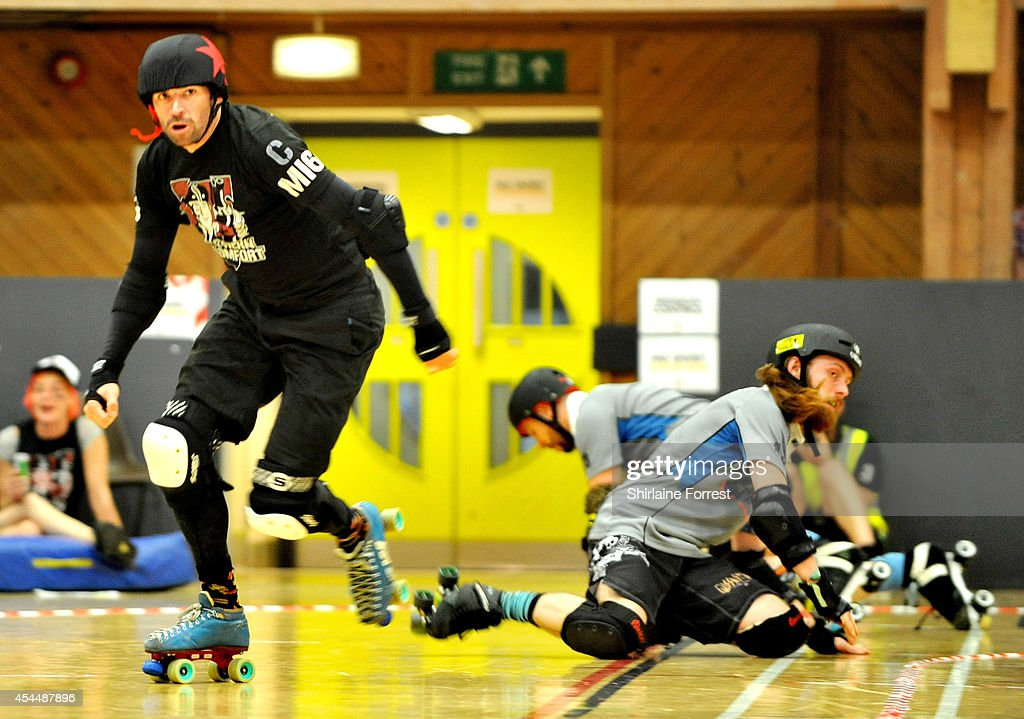 Ballistic of Southern Discomfort bouts in the Men's European Cup roller derby tournament at Walker Activity Dome on August 31, 2014 in Newcastle upon Tyne, England.