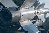 Ballistic Rocket. Nuclear Missile With Warhead. War Backgound.