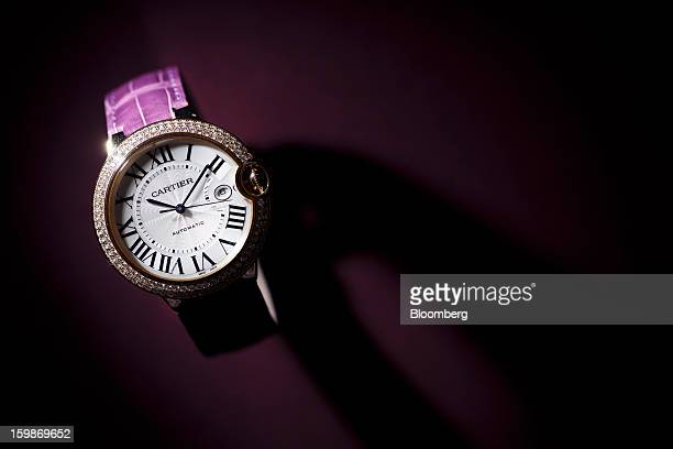 A Ballon Bleu 42mm wristwatch sits on display at the Cartier booth a unit of Cie Financiere Richemont SA on the first day of the Salon International...