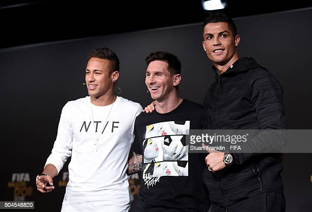 Ballon dOr 2015 nominees Neymar of Brazil and FC Barcelona Lionel Messi of Argentina and FC Barcelona and Cristiano Ronaldo of Portugal and Real...