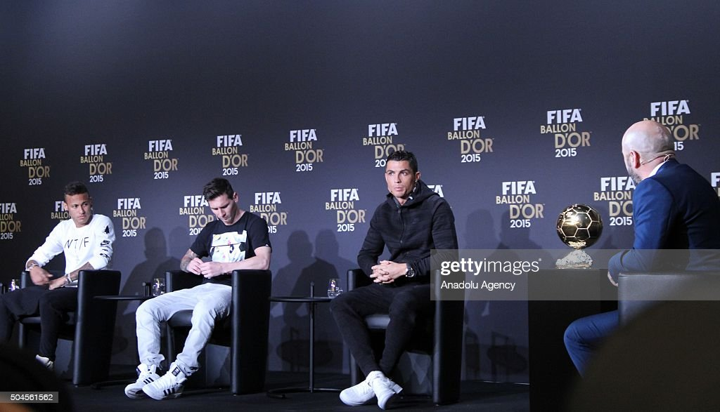 Ballon d'Or 2015 nominees Neymar (L) of Brazil and FC Barcelona, Lionel Messi (C) of Argentina and FC Barcelona and <a gi-track='captionPersonalityLinkClicked' href=/galleries/search?phrase=Cristiano+Ronaldo+-+Soccer+Player&family=editorial&specificpeople=162689 ng-click='$event.stopPropagation()'>Cristiano Ronaldo</a> (R) of Portugal and Real Madrid attend a FIFA Ballon d'Or 2015 press conference prior to the FIFA Ballon d'Or Gala 2015 at the Kongresshaus in Zurich, Switzerland on January 11, 2016