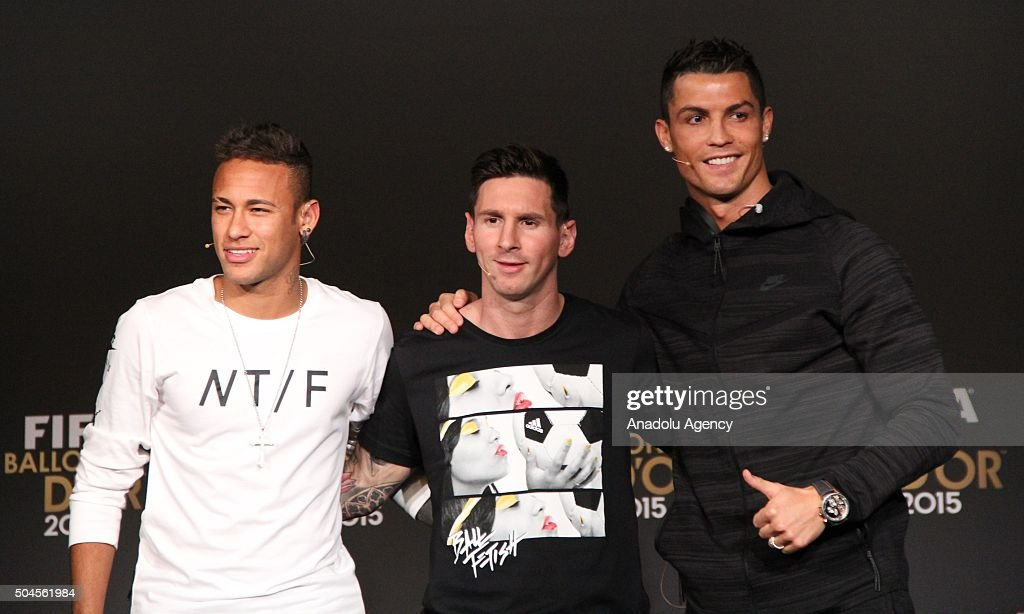 Ballon d'Or 2015 nominees Neymar (L) of Brazil and FC Barcelona, Lionel Messi (C) of Argentina and FC Barcelona and <a gi-track='captionPersonalityLinkClicked' href=/galleries/search?phrase=Cristiano+Ronaldo+-+Soccer+Player&family=editorial&specificpeople=162689 ng-click='$event.stopPropagation()'>Cristiano Ronaldo</a> (R) of Portugal and Real Madrid pose for a photo after the FIFA Ballon d'Or 2015 press conference prior to the FIFA Ballon d'Or Gala 2015 at the Kongresshaus in Zurich, Switzerland on January 11, 2016