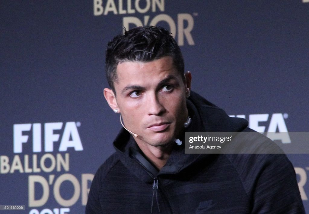Ballon d'Or 2015 nominees Neymar (not seen) of Brazil and FC Barcelona, Lionel Messi (not seen) of Argentina and FC Barcelona and <a gi-track='captionPersonalityLinkClicked' href=/galleries/search?phrase=Cristiano+Ronaldo+-+Soccer+Player&family=editorial&specificpeople=162689 ng-click='$event.stopPropagation()'>Cristiano Ronaldo</a> of Portugal and Real Madrid attend a FIFA Ballon d'Or 2015 press conference prior to the FIFA Ballon d'Or Gala 2015 at the Kongresshaus in Zurich, Switzerland on January 11, 2016