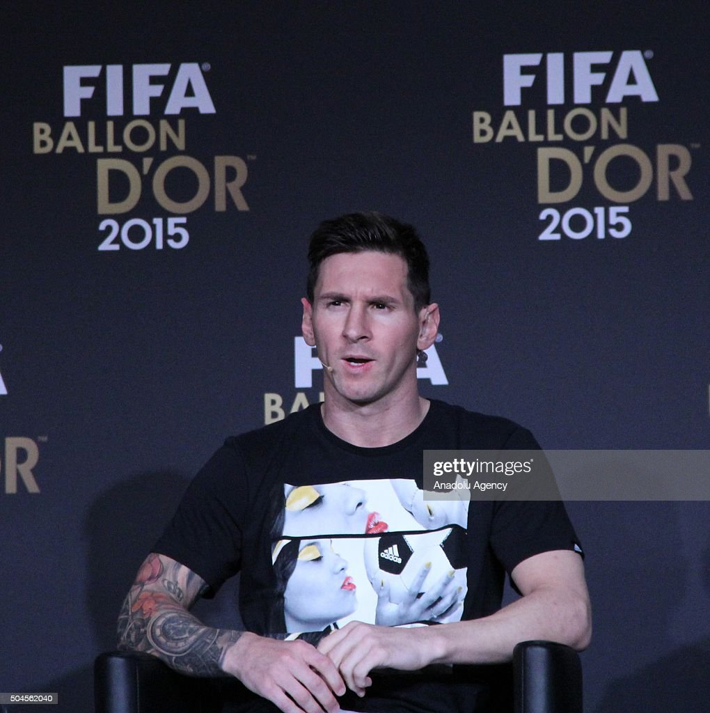 Ballon d'Or 2015 nominees Neymar (not seen) of Brazil and FC Barcelona, <a gi-track='captionPersonalityLinkClicked' href=/galleries/search?phrase=Lionel+Messi&family=editorial&specificpeople=453305 ng-click='$event.stopPropagation()'>Lionel Messi</a> of Argentina and FC Barcelona and <a gi-track='captionPersonalityLinkClicked' href=/galleries/search?phrase=Cristiano+Ronaldo+-+Soccer+Player&family=editorial&specificpeople=162689 ng-click='$event.stopPropagation()'>Cristiano Ronaldo</a> (not seen) of Portugal and Real Madrid attend a FIFA Ballon d'Or 2015 press conference prior to the FIFA Ballon d'Or Gala 2015 at the Kongresshaus in Zurich, Switzerland on January 11, 2016