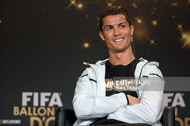 Ballon d'Or nominee Cristiano Ronaldo of Portugal and Real Madrid attends a press conference prior to the FIFA Ballon d'Or Gala 2014 at the...