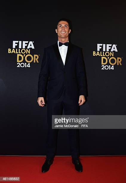 Ballon d'Or nominee Cristiano Ronaldo of Portugal and Real Madrid arrives for the FIFA Ballon d'Or Gala 2014 at the Kongresshaus on January 12 2015...