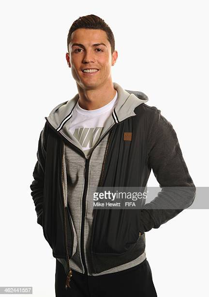 Ballon d'Or nominee Cristiano Ronaldo of Portugal and Real Madrid poses for a portrait prior to the FIFA Ballon d'Or Gala 2013 at the Park Hyatt...