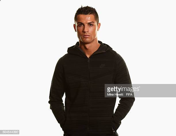 Ballon d'Or nominee Cristiano Ronaldo of Portugal and Real Madrid poses for a portrait prior to the FIFA Ballon d'Or Gala 2015 at the Park Hyatt...