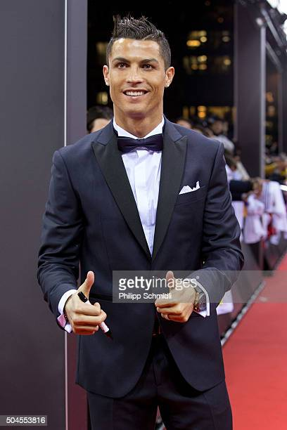 Ballon d'Or nominee Cristiano Ronaldo of Portugal and Real Madrid arrives for the FIFA Ballon d'Or Gala 2015 at the Kongresshaus on January 11 2016...