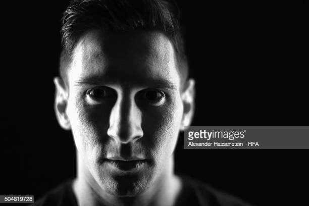 FIFA Ballon d'Or nominee Lionel Messi of Argentina and Barcelona poses for a portrait prior to the FIFA Ballon d'Or Gala 2015 at the Park Hyatt hotel...